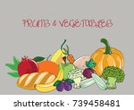 set of fruits and vegetables | Shutterstock .eps vector #739458481