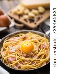 pasta with bacon  egg and cheese | Shutterstock . vector #739465831