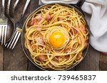 pasta with bacon  egg and cheese | Shutterstock . vector #739465837
