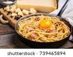 pasta with bacon  egg and cheese | Shutterstock . vector #739465894