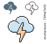 pixel icon of cloud with... | Shutterstock .eps vector #739467655