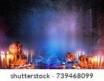 jack o lantern in blue... | Shutterstock . vector #739468099