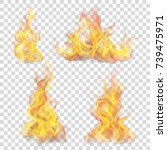 set of fire flame on... | Shutterstock .eps vector #739475971