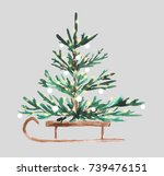Watercolor Christmas Tree On A...