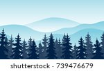 winter forest landscape vector... | Shutterstock .eps vector #739476679
