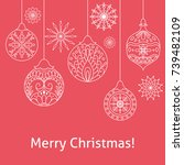 merry christmas red background... | Shutterstock .eps vector #739482109