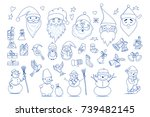 funny cartoon christmas icon... | Shutterstock .eps vector #739482145