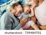 portrait of cheerful family... | Shutterstock . vector #739484701
