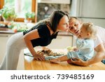 family with baby spend time... | Shutterstock . vector #739485169