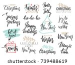 set of merry christmas text ... | Shutterstock .eps vector #739488619