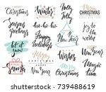 set of merry christmas text ... | Shutterstock .eps vector #739488619