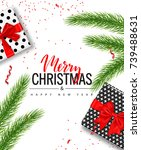 christmas sale poster with gift ... | Shutterstock .eps vector #739488631