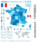 france infographic map and flag ... | Shutterstock .eps vector #739488841