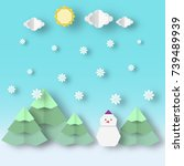 christmas landscape with... | Shutterstock .eps vector #739489939