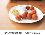 bitterballen with mustard  warm ... | Shutterstock . vector #739491139
