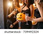 three smiling nuns in cassocks... | Shutterstock . vector #739492324