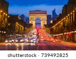 avenue des champs elysees and... | Shutterstock . vector #739492825