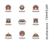 mono line mountain icon set.... | Shutterstock .eps vector #739495189