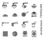 noodles  asian food  icons set. ... | Shutterstock .eps vector #739501489