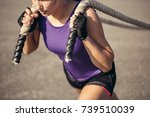 side view shot of fit young... | Shutterstock . vector #739510039