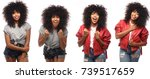 afro woman in a row  | Shutterstock . vector #739517659