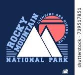 t shirt print design. rocky... | Shutterstock .eps vector #739517851