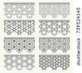 set of black seamless borders ... | Shutterstock .eps vector #739524145
