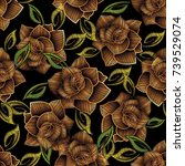 embroidery roses seamless... | Shutterstock .eps vector #739529074