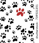 cute dog paw prints or tracks... | Shutterstock . vector #739531351