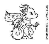cute little dragon  hand drawn... | Shutterstock .eps vector #739531681