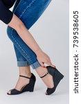 women's legs with high heels... | Shutterstock . vector #739538605