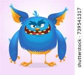 cute furry blue monster. vector ...   Shutterstock .eps vector #739541317