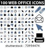 100 web office icons  vector | Shutterstock .eps vector #73954474