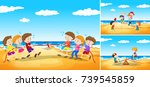 children playing games on the... | Shutterstock .eps vector #739545859