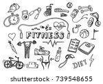 hand drawn doodle fitness icons ... | Shutterstock .eps vector #739548655