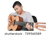 portrait of a cute little boy... | Shutterstock . vector #739560589