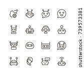 chat bot icon set. collection... | Shutterstock .eps vector #739573381