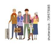 people in transit. vector... | Shutterstock .eps vector #739575085