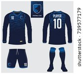 long sleeve soccer jersey or... | Shutterstock .eps vector #739577179