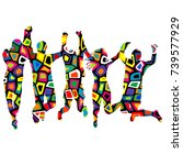 colorful patterned silhouettes... | Shutterstock .eps vector #739577929