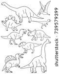 dinosaur line art | Shutterstock .eps vector #739579399