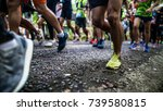 starting running feet of runners | Shutterstock . vector #739580815