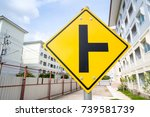 yellow three way junction sign   Shutterstock . vector #739581739