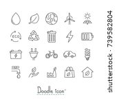 doodle ecology icons. hand... | Shutterstock .eps vector #739582804