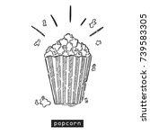 popcorn sketch. vector hand... | Shutterstock .eps vector #739583305