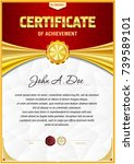 certificate blank template with ... | Shutterstock .eps vector #739589101