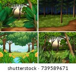 four forest scenes at day and... | Shutterstock .eps vector #739589671