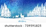 origami merry christmas snow... | Shutterstock . vector #739591825