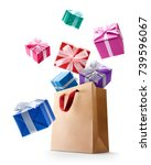 gift boxes pop out from paper... | Shutterstock . vector #739596067