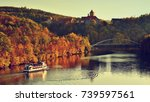 beautiful autumn landscape with ... | Shutterstock . vector #739597561